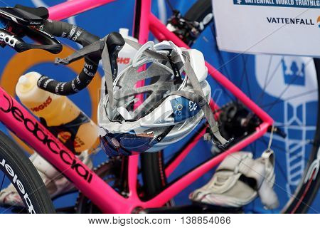 STOCKHOLM - JUL 02 2016: Closeup of a professional triathlon cycles in the Women's ITU World Triathlon series event July 02 2016 in Stockholm Sweden