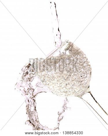 glass of clean clear water on a white background photo for micro-stock