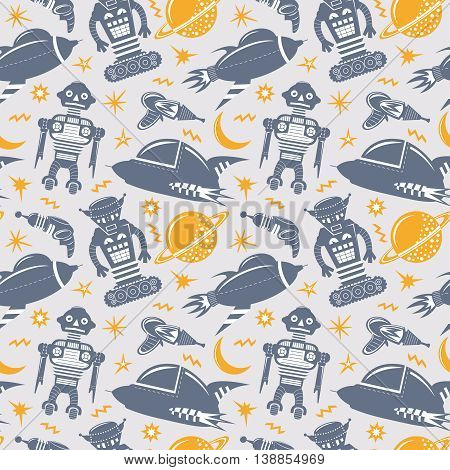 Vector seamless pattern with robots spaceships and planets. Space invaders background. poster