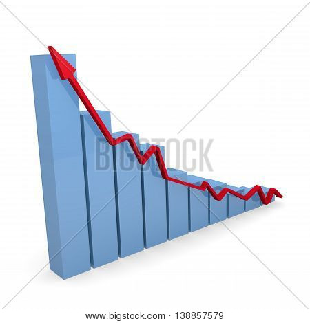 Business graph in blue with a red upswing arrow on a white background 3d rendering