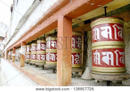 Buddhist Prayer wheels in the temple, Ladakh, India