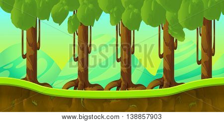 game background 2d game application. Vector design. Tileable horizontally. Size 1024x512. Ready for parallax effect