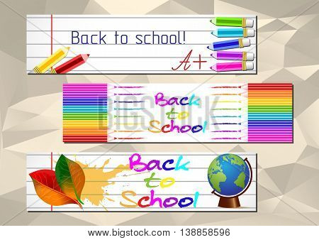 School banners with colorful pencils earth globe and autumn leaves on page of copybook in line. Back to school. Vector illustration