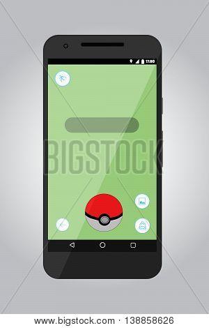 Game screen application. Flat vector stock illustration