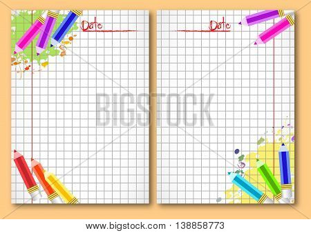 School notebook facing pages with colotful pencils and paint blots on page of copybook in cage. Back to school. Vector illustration
