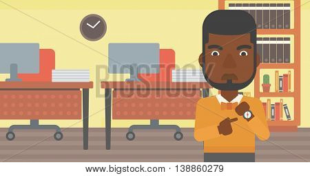 An african-american angry businessman standing in the office and pointing at his wrist watch. Concept of late to work. Vector flat design illustration. Horizontal layout.