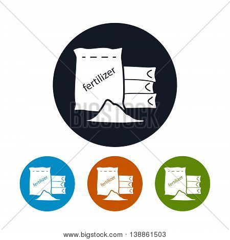 Icon Fertilizer, Four Types of Round Icons Fertilizer, Agricultural Industry, Vector Illustration