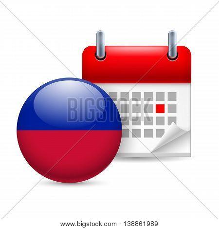 Calendar and round Haitian flag icon. National holiday in Haiti