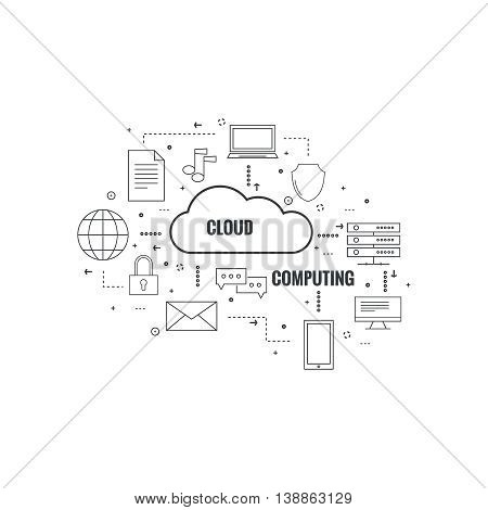 Network cloud computing. Web hosting and cloud technology. Database protection security. Global data transfer and storage  server. Communication technologies connecting different devices.