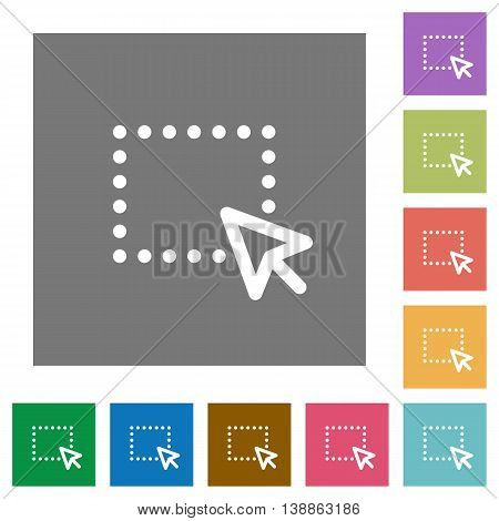 Drag operation flat icon set on color square background.