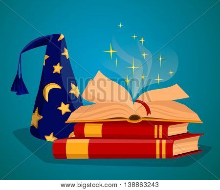 Cap wizard and wizard book of magic spells and magic tricks concept vector illustration. Wizard hat. Cartoon wizard hat and magic book on table. Wizard glow effect. Magic hat.