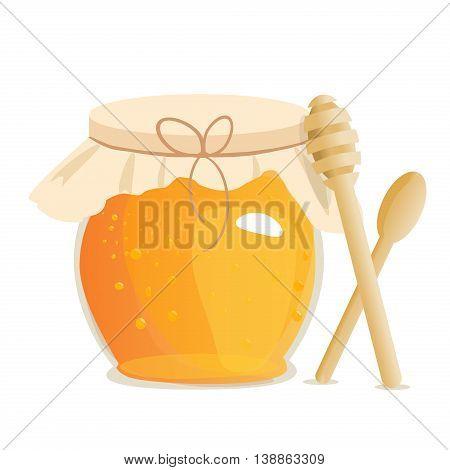 Honey jar vector. Apiary vector symbol. Bee, honey, honey bank, honey pot comb. Honey natural healthy food production. Honey liquid bank isolated. Beehive and wax. Sticky ingredient dessert.
