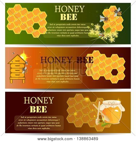 Honey bee apiary beehive banner. Honey bee and beehive vector. Apiary banner style Honey bee and beehive banner. Mead bee and beehive set. Vector apiary banner honey bee and beehive.