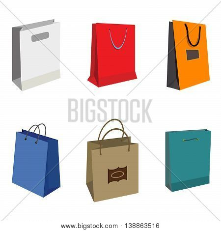 Set of Colorful Empty Shopping Bags Isolated vector set. Shopping bags fashion design store merchandise handle package. Colorful paper gift handle package shop, market shopping bags.