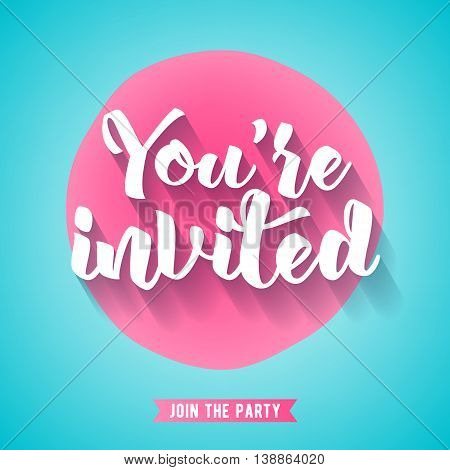 You're invited lettering design vector illustration with stain and ribbon. Pink and turquous sweet girly background. Good for wedding birthday party celebration design.