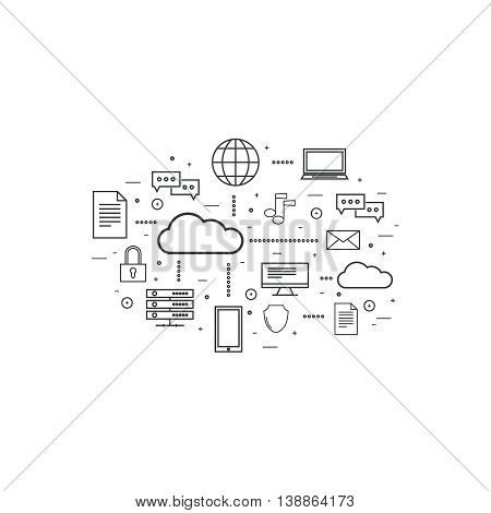 Network cloud computing. Web hosting and cloud technology. Database protection security. Global data transfer and storage  server. Communication technologies connecting different devices. poster