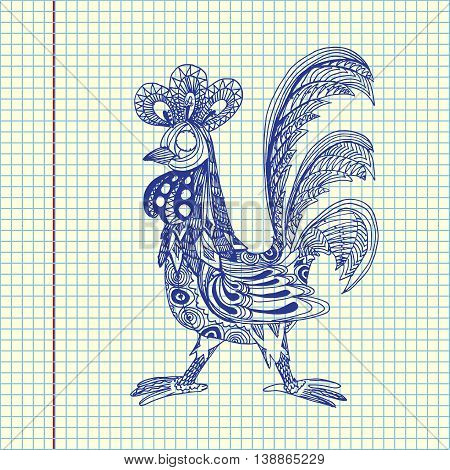 Decorative cock. Hand drawn vector stock illustration. Year 2017 symbol. Sheet ball pen drawing.