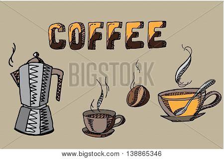 Coffee elements set. Hand drawn vector stock illustration.