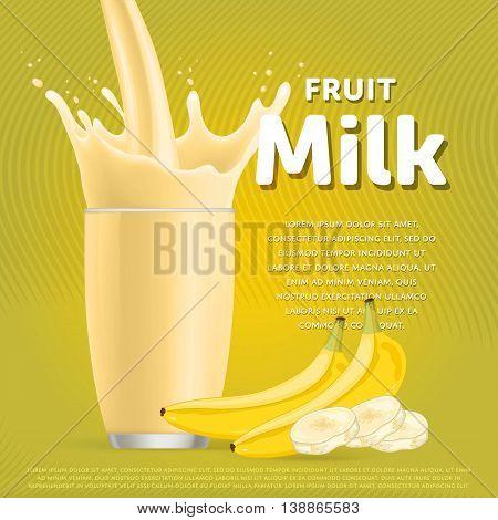 Banana sweet milkshake dessert cocktail glass fresh drink in cartoon vector illustration. Fruit milk splash. Milk cocktail dessert. Delicious drink. Glass of fruit milkshake. Sweet milk drink. Milk splash in a glass. Milkshake.