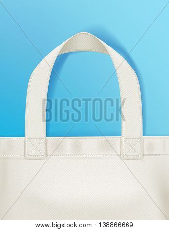 Eco textile tote shopper bag on blue background vector illustration. Good for branding advertising banner poster flyer design.