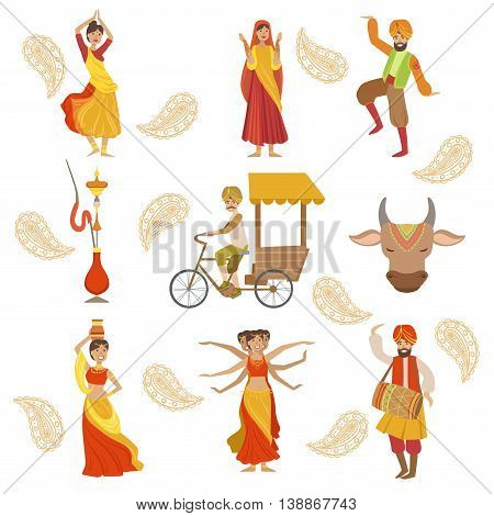 Dancing, Holy Cow And Other Indian Cultural Symbol Drawings Simplified Cartoon Style Drawings On White Background