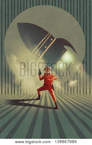 super hero in red suit holding gun over rocket launch in background, vintage style, illustration painting