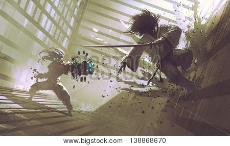 fight between samurai and robot in dojo, sci-fi action scene, illustration, digital painting