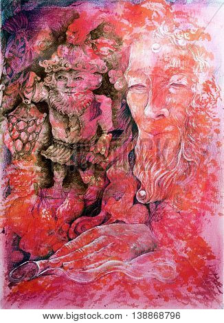 Elven fairy realm abstract painting, detailed colorful artwork on red orange background poster
