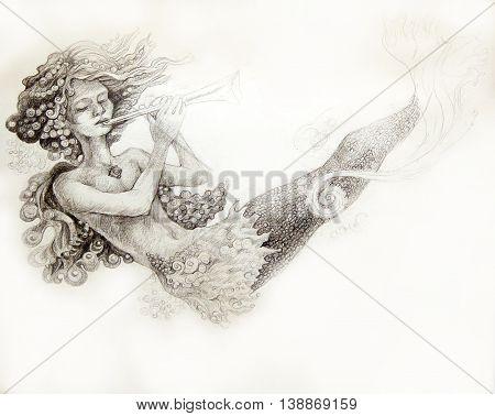 little mermaid playing flute, monochromatic ornamental illustration.