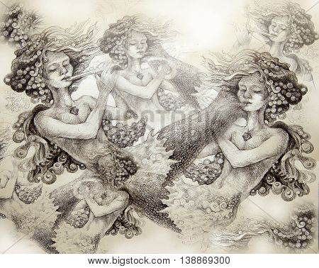 group of mermaids playing flute, monochromatic ornamental illustration.