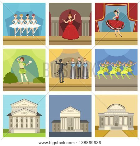 Theatre Buildings And Stage Perfomances Set Of Icons. Ballet, Opera, Shakesperean Play And Choir Performance On Stage.