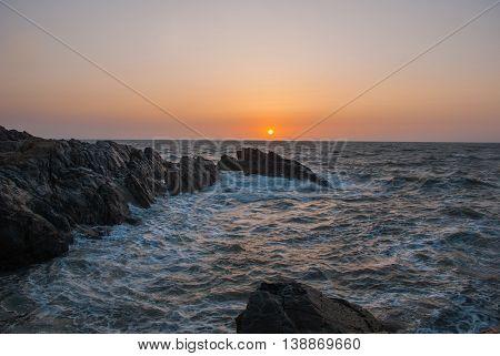 Rocks And Sea At Sunset. Gokarna. Karnataka, India