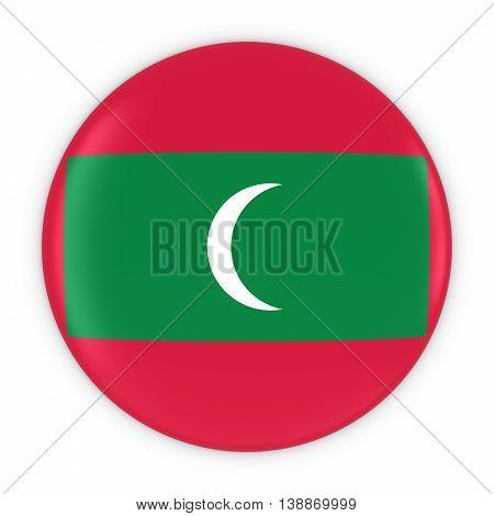 Maldivian Flag Button - Flag Of Maldives Badge 3D Illustration