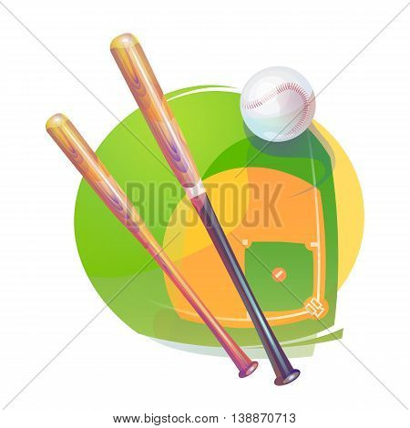 Baseball yarn or string rubber white ball with air tail and bleak and crossed bats over national american diamond field or pitch. Sport gear or equipment that can be used for awards ceremony