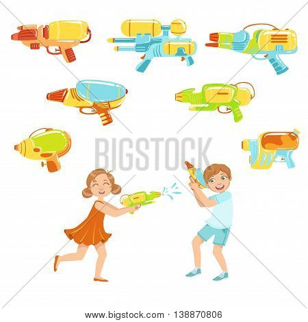 Kids Playing With Water Pistols And Assortment Of Water Guns, Colorful Flat Bright Color Vector Illustration On White Background