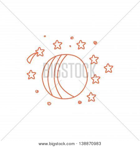 Planet Surrounded By Stars And Comets Hand Drawn Childish Illustration In Funny Comic Style On White Background