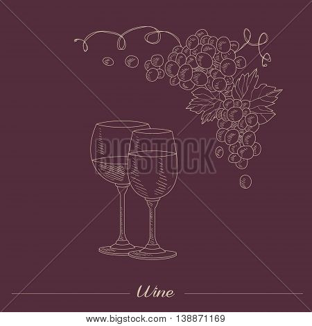 Two lasses With Different Wine Hand Drawn Realistic Detailed Sketch In Beautiful Classy Style On Dark Red Background