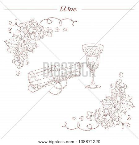 Vintage Bottle And Wine Glass Hand Drawn Realistic Detailed Sketch In Beautiful Classy Style On White Background