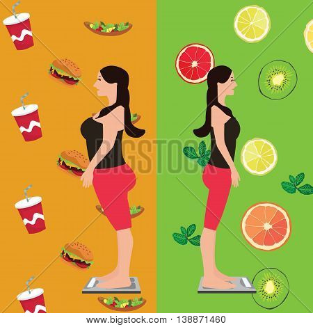 girl before and after diet change food from unhealthy to fresh and fruits vector