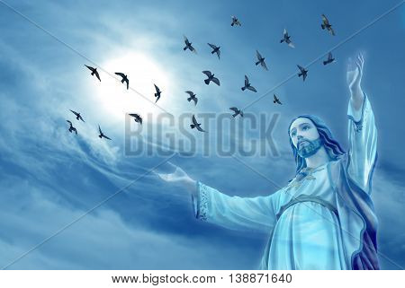 Doves raise skyward representing angels carrying the soul to Heaven