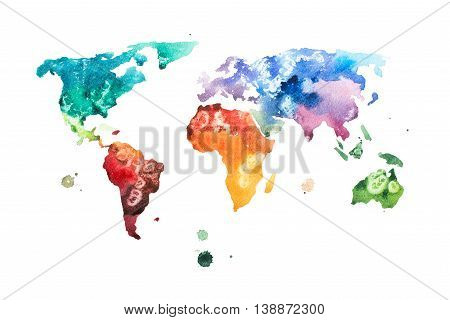 Hand drawn watercolor world map aquarelle illustration