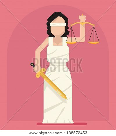 Themis Femida with scales sword symbol of law justice flat icon vector illustration