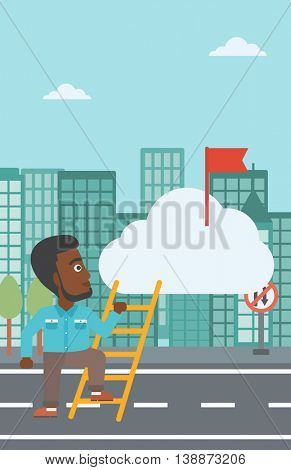 An african-american young businessman climbing up the ladder to get the red flag on the top of the cloud. Vector flat design illustration. Vertical layout.