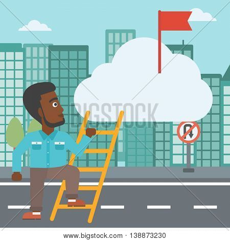 An african-american young businessman climbing up the ladder to get the red flag on the top of the cloud. Vector flat design illustration. Square layout.