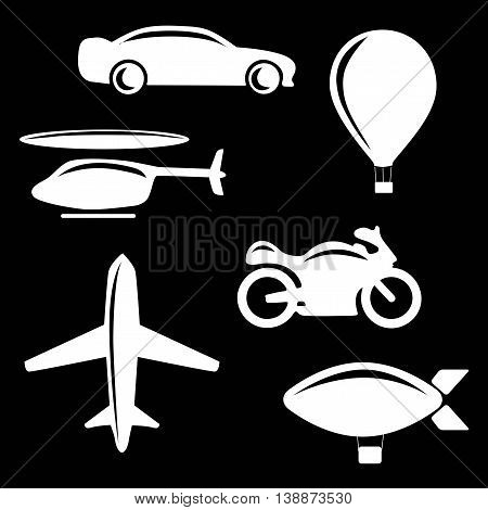 Vector illustration of simple monochromatic vehicle and transport related icons. Flat vector stock illustration