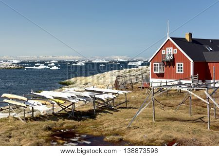 Ilulissat town on arctic ocean at north pole in Greenland