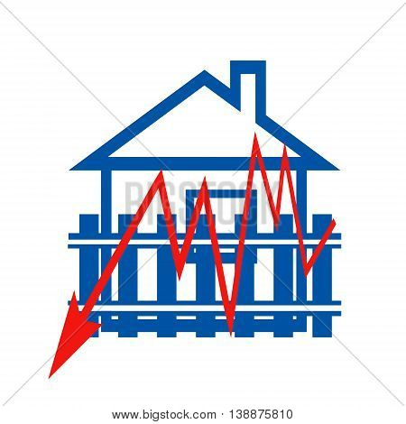 Red arrow sign in the background houses . The concept of price changes on the real estate market .