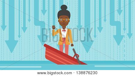 An african-american business woman standing in a sinking boat and asking for help. Concept of business bankruptcy. Vector flat design illustration. Horizontal layout.
