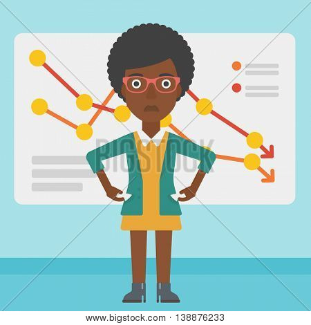 An african-american business woman showing her epmty pockets on the background of a board with decreasing chart. Bankruptcy concept. Vector flat design illustration. Square layout.