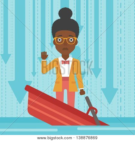 An african-american business woman standing in a sinking boat and asking for help. Concept of business bankruptcy. Vector flat design illustration. Square layout.